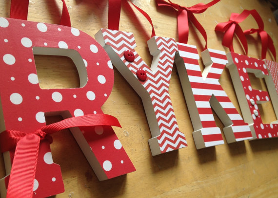 Baby Nursery Wall Letters -SEEING RED Theme by dwellingonline