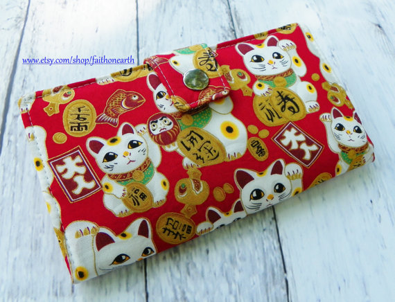 Handmade Long Wallet BiFold Clutch – Vegan Wallet – large maneki neko red lucky cat by FaithOnEarth