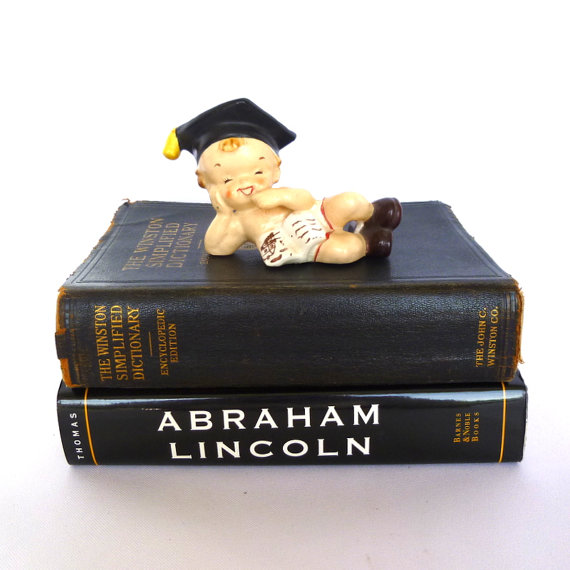 VINTAGE GRADUATE FIGURINE/ Kitsch collectable figurine for the graduate/ Nursery decor by orangedoorvintage