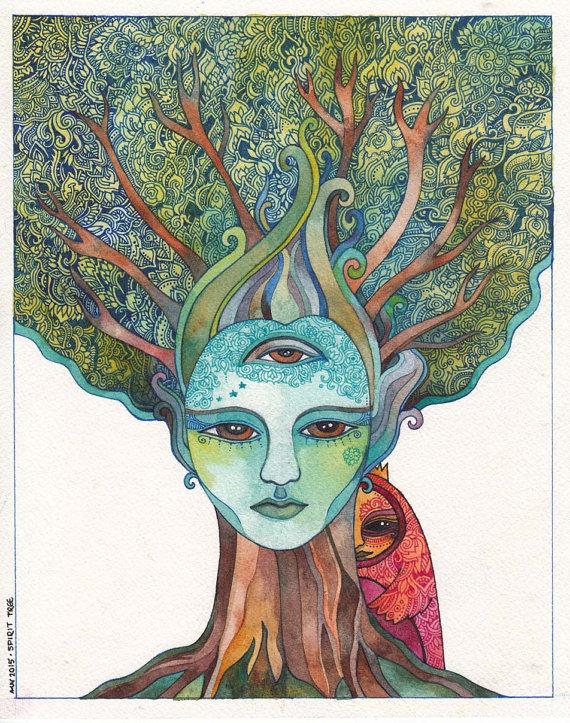 Spirit Tree Original Watercolor by Megan Noel by meinoel