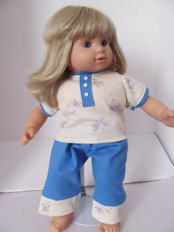 Pajamas, Sleep pants, T shirt, 15 inch Doll Clothes, Doll Pajamas by fashioned4you