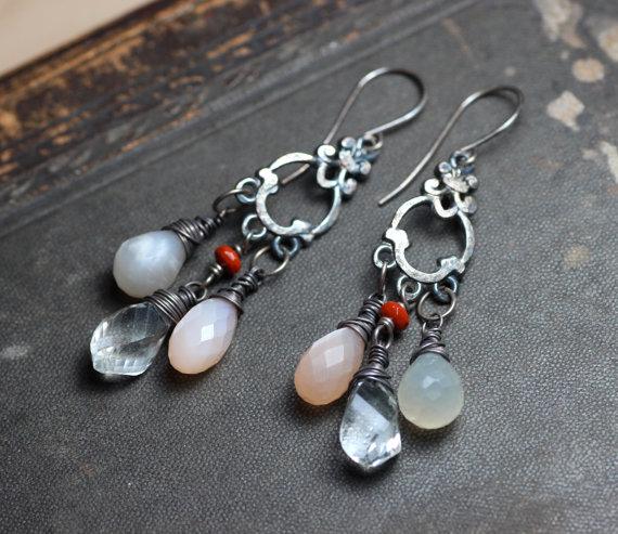 Moonstone Earrings Gray and Peach Moonstone Chandelier Earrings Rustic Jewelry Quartz Antiqued Silver Earrings by TheTwistedPretzel