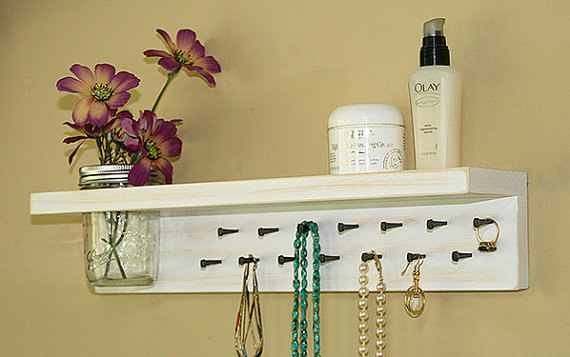 On Sale Jewelry Organizer Wall / Jewelry Rack / Jewelry Holder Wall / Jewelry Shelf / Necklace Holder by GardenCricket
