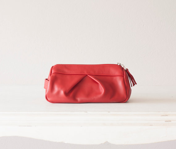 Red leather accessory bag, makeup case, cosmetic bag, zipper pouch, utility bag, travel zipper case, vanity storage – Estia Bag by milloo