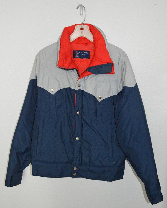 HIT THE SLOPES – vintage 70s designer Peter Frank of Seattle ski jacket – red blue gray – large by lovedovevintage