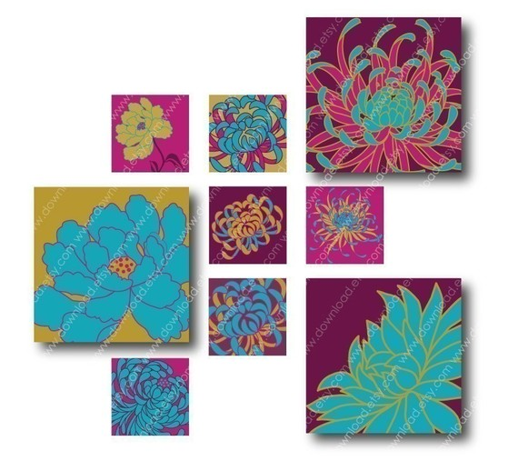 Bright Kiku Flowers, 1 inch Square Tiles, Digital Collage Sheet, Download and Print Jpeg Clip Art Images by download