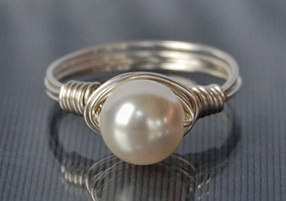 Wire Wrapped Ring- Sterling Silver with White Swarovski Pearl- Any Size- Size 4, 5, 6, 7, 8, 9, 10, 11, 12, 13, 14 by Twist21trinkets