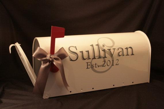 Wedding Mailbox- Card Box – Standard USPS size – White – Both Sides Decorated by MarleyintheMiddle