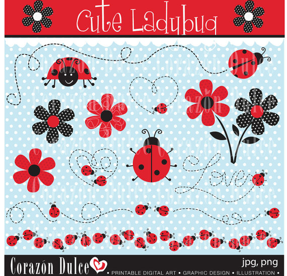 Cute ladybug Digital Clip Art Set – Personal and Commercial Use Clip Art by corazondulce