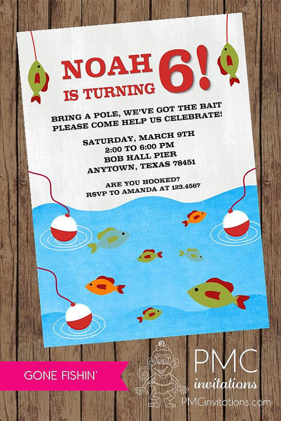 Gone Fishing Birthday Invitations – 1.00 each with envelope by PMCInvitations