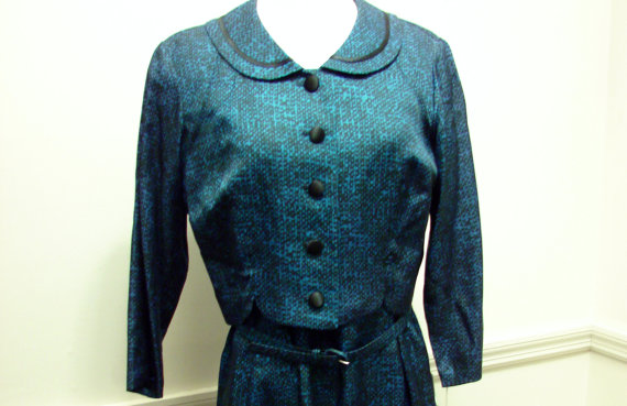 Vintage 1950s NWT Two Piece Blue Print Wiggle Dress by Berkshire Size 14 Petite by VixVintage