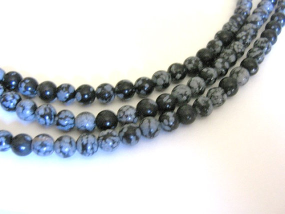 Snowflake Obsidian Beads 6mm Round Black Bead Gemstone by Beads2string