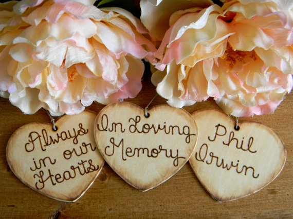 Add On Rustic Charm Large Wooden Hearts Wood Burned Engraved 4.50 Per Heart Always In Our Hearts In Loving Memory Wedding Bouquet Charm by justforkeeps