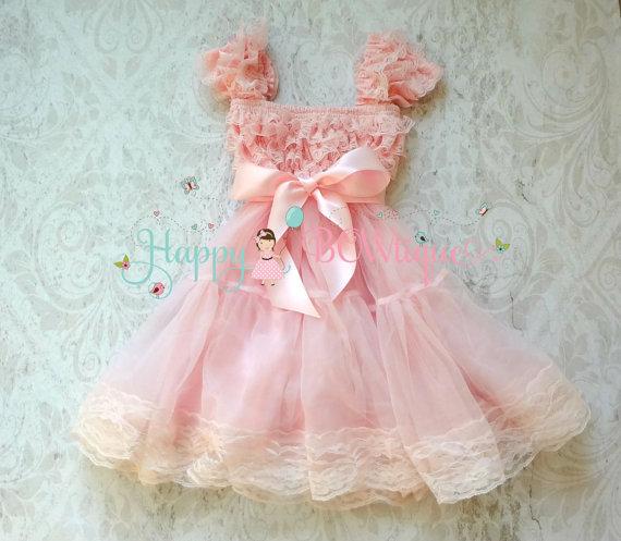 Flower girl dress, Baby Pink Bow Chiffon Lace Dress, Girls dress, baby dress, 1st Birthday dress, Pink Dress, Princess dress, Valentine's Dress by HappyBOWtique