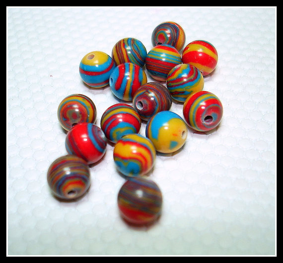 Red Yellow Blue Swirled Synthetic Turquoise Round Beads (Qty 16) – B2550 by Fairydustboutique