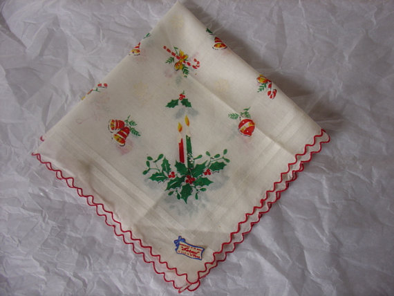 Christmas Handkerchief, Handkerchief of the Month by Burmel as seen in Vogue, 1960s, never used, Tag still on, by VanessevaDesigns