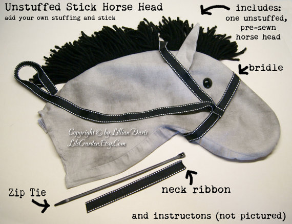 Unstuffed Stick Horse Head, Traditional & Fun Colors, MADE to ORDER, Choose color by LilsGarden