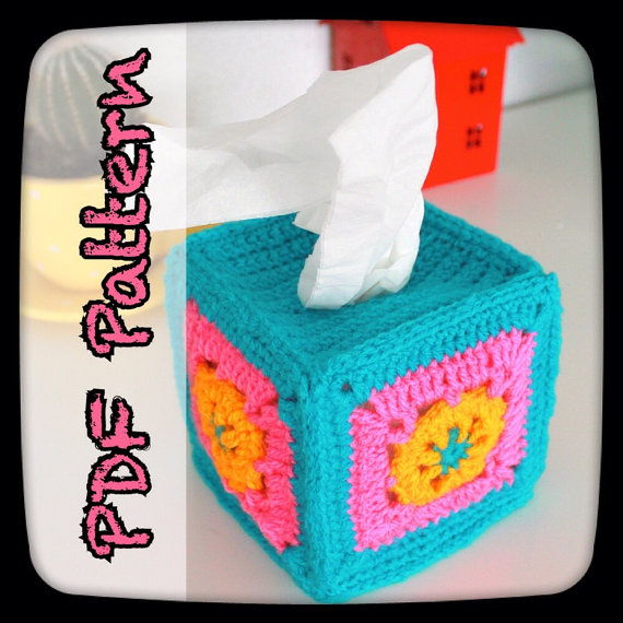 Nova's Web Tissue Box Cover – A PDF Crochet Pattern – Digital Download – Granny Square – Tissue Box Holder – Cosy – Cozy – EssHaych by EssHaych