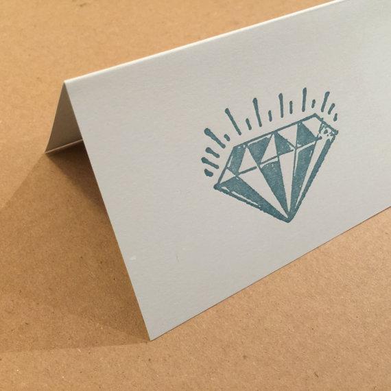 Sparkling Diamond Jewel Note Cards Folded 8 Pack Letterpress by PioneerHouse