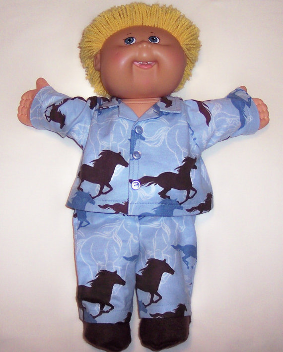 CABBAGE PATCH DOLL 16 & quot; Boys Blue Flannel Pajamas With Brown Horse & Slippers by DollyDollClothes