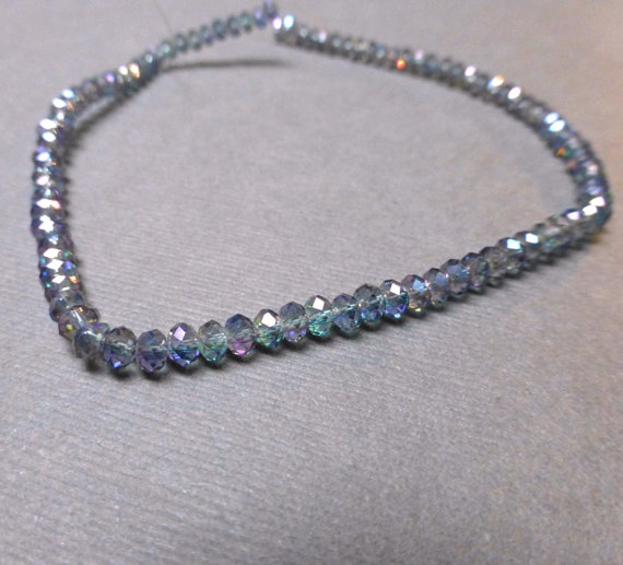Sparkly Faceted Glass Rondelles. Moss AB Finish. Irish. St. Patricks Day. 3mm. Full 10 Inch Strand. One (1). by trunksale