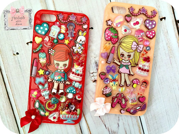 Kawaii iPhone 5s Phone Case- Your choice retro girls dolls kawaii sweets bunny by InsanelySweetJewelry