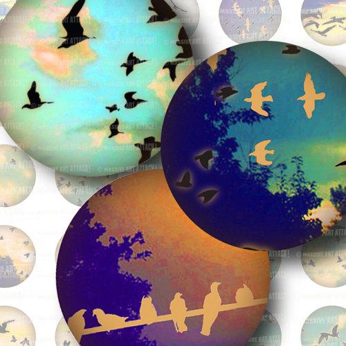 Flocks of Birds on Vintage Skies. Digital Collage Sheet 195. 1.5 inch circles by massiveartattack