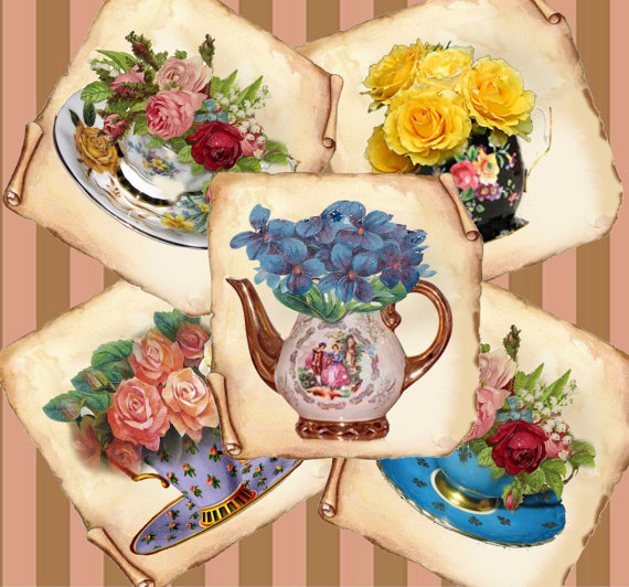 Coaster prints Teatime TREATS tea cups flowers vintage printable paper coasters mirrors magnets tags cards 323. instant DOWNLOAD by ArtToArt