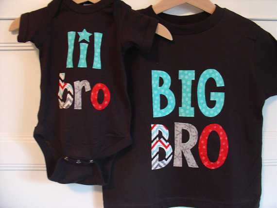 Big Brother Little Brother Matching Shirt and Onesie – Black, Celebration Chevron by TheMommaFish
