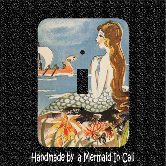 Vintage Mermaid Single Light Switch Plate Covers Toggle/Rocker/Outlet by Mermaidincali