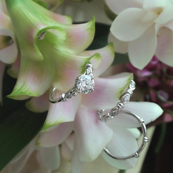 Petal Lotus Diamond Engagement Ring in 14k White Gold, Made to Order (Prices Vary) by HeartofWaterJewels