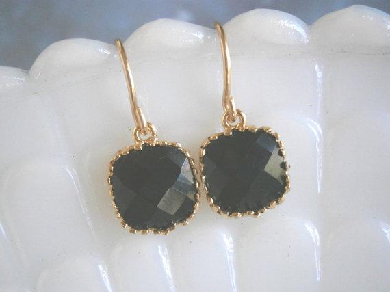 Jet Black Earrings, Black Dot Earrings, Petite Earrings, Gold Earrings, Simple, Everyday Jewelry by LisaDJewelry