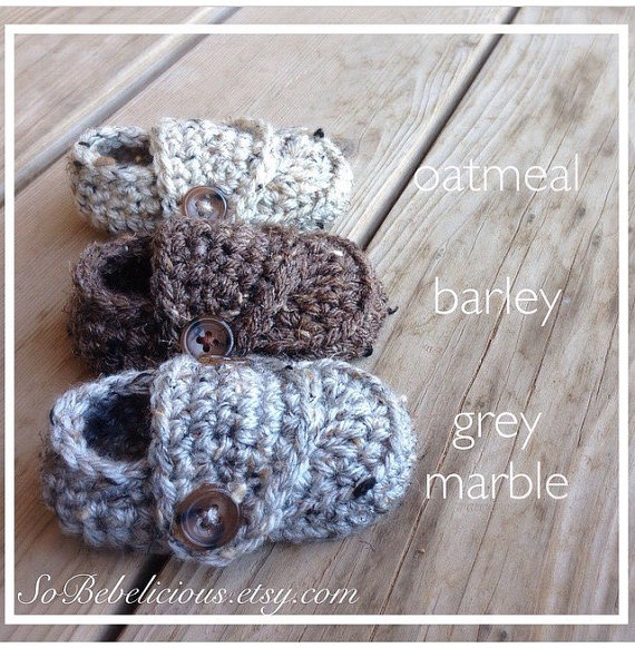Spring SALE! Crocheted Baby Boy Loafer Booties in Grey Marble with Brown Buttons Newborn 0-3 3-6 6-9 9-12 Months Shower Gift Photo Prop tan by SoBebelicious