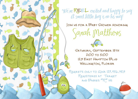 Fishing Boy Baby Shower Invitation -Little Fisherman Fish Tackle and Rod Invite by 3PeasPrints