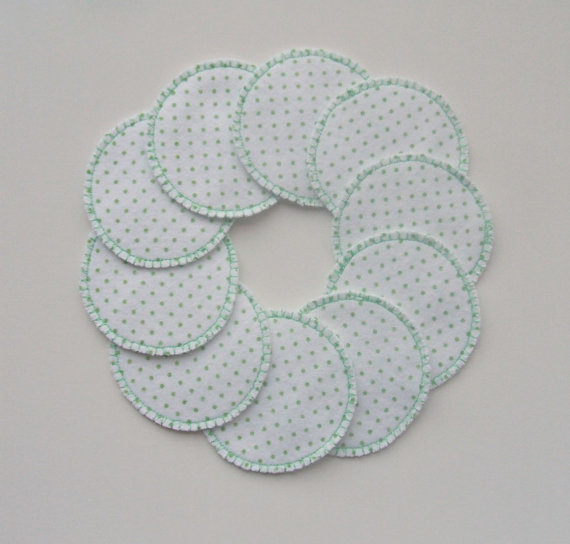 Reusable Cotton Rounds Tiny Green Polka Dot Make-up Remover Pads Washable by softandscrubby
