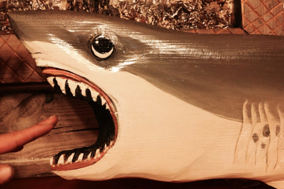 Great White Shark 4ft chainsaw wood carving indoor outdoor art coastal wall mount shark sculpture nautical realistic saltwater beach cottage by oceanarts10