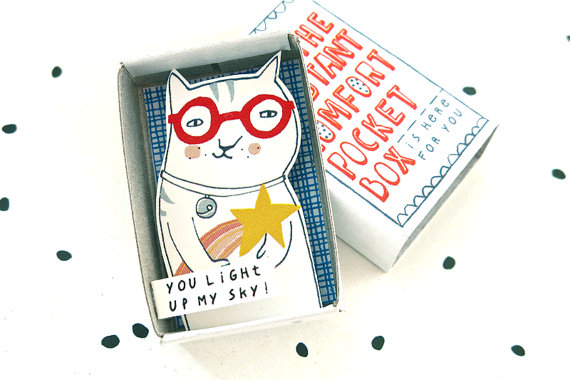The Instant Comfort Pocket Box – cat with shooting star by kimslittlemonsters