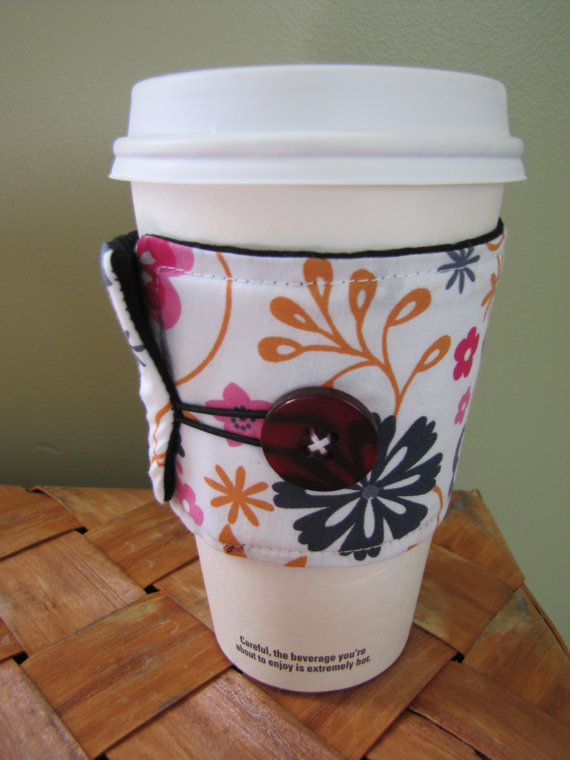 Pink Flowers Sleeve Cup Cozy by GreenerRoute