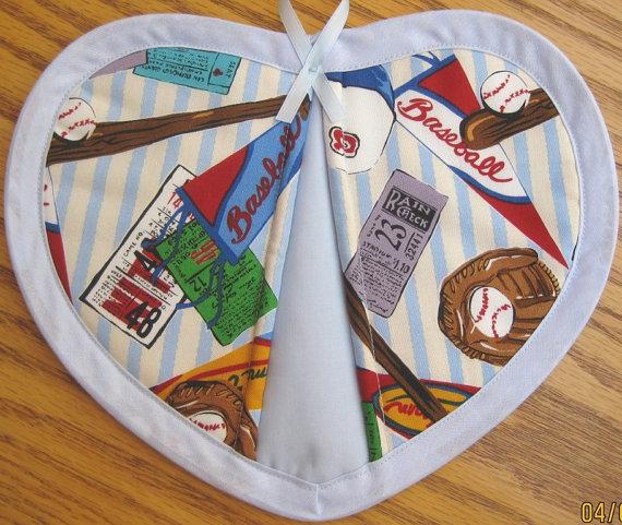 Baseball on Light Blue Stripes – Set of 2 by judywhitneycreations