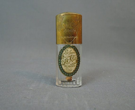 30s Vintage Perfume Bottle – Djier Kiss Vanette by Kerkoff, Paris – 1930s Miniature Perfume 2-3 / 4 inches, empty by dandelionvintage