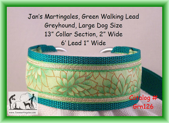 Jan's Martingales, Green Walking Lead, Dog Collar and Lead Combination, Greyhound, Large Dog Size, Grn126 by Jansmartingales