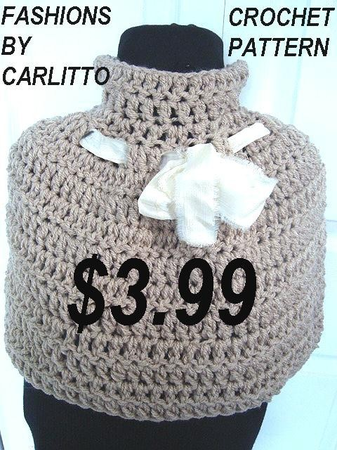 Crochet Patterns shawl cape poncho, num. 91. QUICK chunky crochet. BEGINNER LEVEL … sizes 28 inch chest to 50 inch chest, instant download by Carlitto