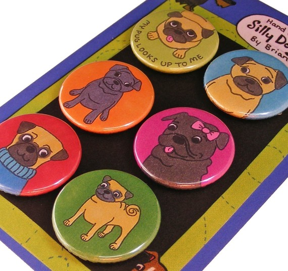 Pug Silly Dog Magnet Set by SillyDogMagnets