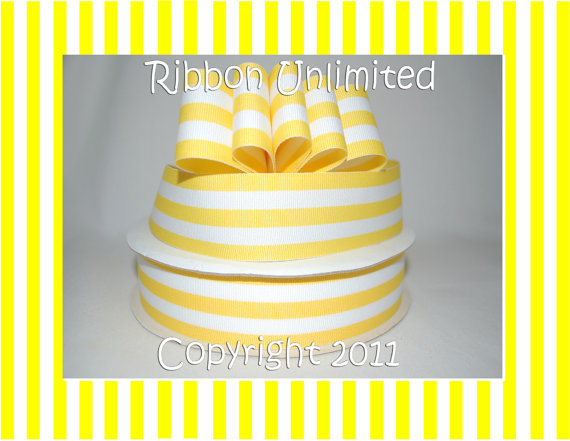 10 Yds WHOLESALE 1.5 Inch Yellow TAFFY Stripes grosgrain ribbon LOW Shipping Cost by ribbonunlimited