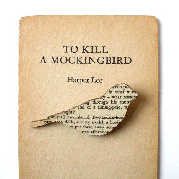To Kill a Mockingbird – Finch brooch. Classic book brooches made with original pages. by houseofismay