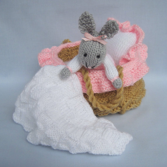 Baby Bunny in basket crib – knitting pattern – INSTANT DOWNLOAD rabbit doll toy by dollytime