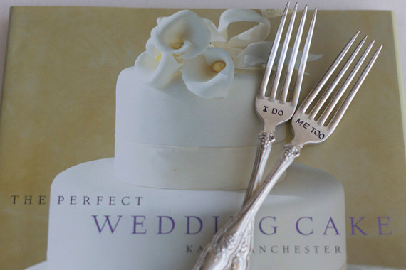 Vintage Silverware I DO ME TOO Sweetheart Cake Wedding Forks Reception Table Setting by WoodenHive