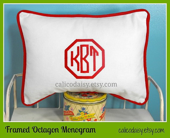 Framed Octagon or Circle Monogrammed Pillow Cover – Lumbar Size 12 x 16 by calicodaisy