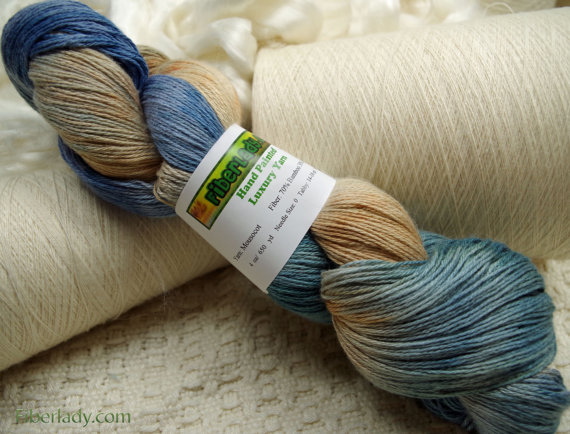 Hand painted Mousoucot Bamboo / Cotton yarn, 4 oz, Seafoam by FiberLady