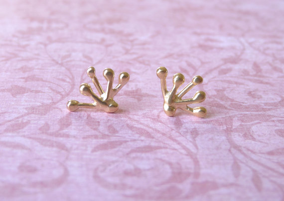 Stud Earrings – 18 Karats Gold Plated Studs with a Branch Shape by MtCarmelJewelry
